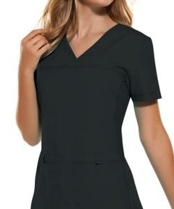 Cherokee Black - V-Neck Knit Panel Top